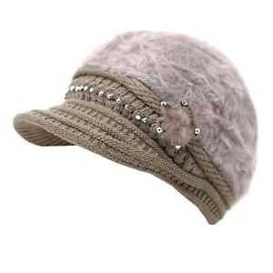 Women Winter Visor Beanie Rabbit Fur Beret Baggy Hat Crochet Cap Warm Slouch