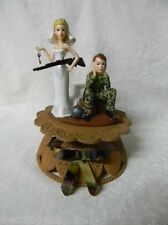 Wedding ~Ball & Chain~ Cake Topper Camo Groom Deer Hunter Hunting Bride with Gun