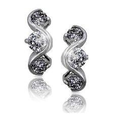 3 Stone Diamond Alternative Swirl Dangle Earrings 14k White Over 925 SS