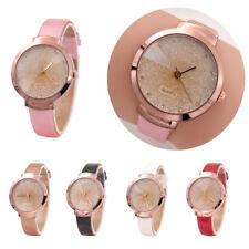 Damen Armbanduhr Strass Leder Armband Uhr Quarzuhr Chronograph NEU