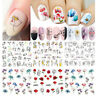 12 Patterns Nail Water Decals Flower Geometry Nail Art Transfer Stickers Tips