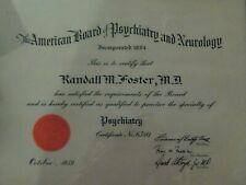 1959 Certificate AMERICAN BOARD OF PSYCHIATRY & NEUROLOGY LICENSE  Seal