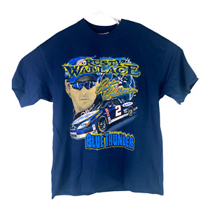 Rusty Wallace #2 Blue Thunder Turn On The Blue Chase Authentics XL Navy T-Shirt
