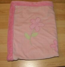 Just One Year Pink Thick Plush Baby Girl w Flowers Green Leaves Blanket 30x40