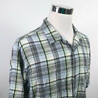Tommy Bahama Mens XL Original Fit 100% Silk Hawaiian Shirt Gray Blue Green Plaid
