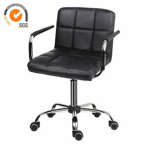 Armrest Padded Swivel Chair PU Leather Comfy Computer Chair Salon Barber UK