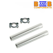 VW T1 BEETLE BUG EXHAUST MUFFLER CHROME TAILPIPE TAIL PIPES & CLAMPS x 2  A1384