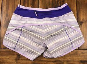 LULULEMON Turbo Run Shorts Size 2 Elevation Stripe Bruised Berry Purple Lined