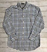 Orvis Country Twill Long Sleeve Button Down Shirt Men's Sz L Blue Plaid