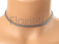 LALIQUE SILICONE GRIGIO / VERDE GIROCOLLO COLLANA 6mm x 28-40cm Argento Catena