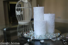 SET OF 3 WEDDING CANDLES  WITH MIRROR CANDLE PLATE WEDDING TABLE CENTERPIECE