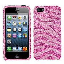 For Apple iPhone 5 5S SE Crystal Diamond BLING Hard Case Phone Cover Pink Zebra