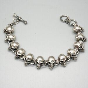 3D Skull Bracelet 925 sterling silver handmade Chain Choker Link Gothic Biker