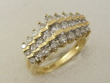 10K DIAMOND PYRAMID RING 10 KARAT YELLOW GOLD LADIES 3 ROW DIAMOND PYRAMID RING