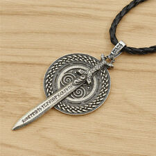 Nordic Viking Celtic Necklace Sword with Rune Pendant Amulet Talisman Men Women