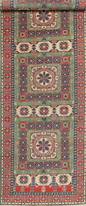 Palace Sized Wide 19 ft Runner Geometric Oriental Hand-made Green Wool Rug 5x19