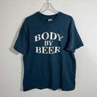 Vintage Body By Beer T Shirt Men's XL Navy Blue Single Stitch Hanes Beefy T EUC