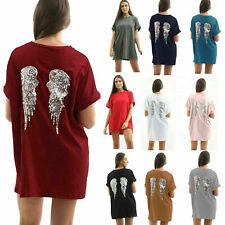 Womens Oversized Baggy Ladies Sequin Angel Wings Girls Back TShirt Dress Tee Top