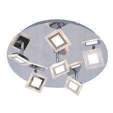 WOFI lámpara LED de techo Cholet 6 Luces Cromado Control remoto 30 vatios 2100LM