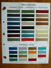 1969 Chrysler Passenger & Commecial paint chip color guide  USA & CDN Production