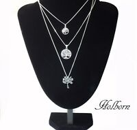 925 Sterling Silver Tree of Life Pendant Curb Chain Necklace in Gift Bag.