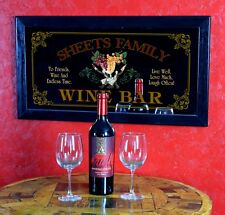 """Wine Bar Personalized Bar Mirror Sign Pub Office Man Cave Women's Gift 13"""" x 28"""""""