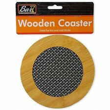 Round Wooden Coaster with Basket Weave Pattern.set of 4 (free next day shipping)