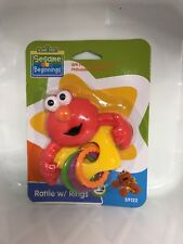 Yellow or Blue BPA Free Sesame Street Cookie Monster Rattle With Rings, NEW!