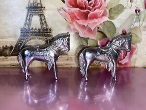 Vintage 1950's Cast Metal Carnival Prize Horses 7cm Tall