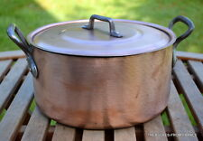 "French 1.5mm 9 1/2"" new tin copper 6lb+ stew pot pan cocotte casserole  cuivre"