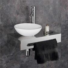 Round White 28cm Glass Sink on Stainless Mount Bathroom Space Saving Basin Set