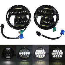 """Pair 7"""" Inch 75W Led Headlight Hi/Lo Beam Drl Fit Jeep Wrangler Cj Jk Lj 97-17"""