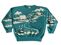 Vintage 80s Crewneck One Size Snowy Cabin Graphic Double Sided Sweatshirt Puff