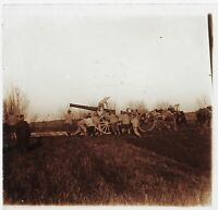 Guerre 14-18 Gros Canon Francia Foto Stereo PL46Th3n17 Placca Vintage