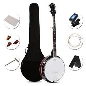 Costway Sonart 5 String Geared Tunable Banjo 24 Brackets Closed Back Remo Head