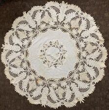 "Vintage Fabulous Leaf Circle Handmade Tablecloth 60"" Round Nr Free Shipping"