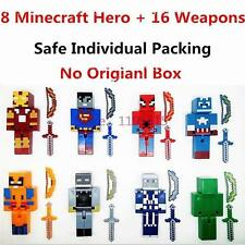 8 Minecraft Style Marvel/dc Strong Superhero Custom Toy Figures With 16 Weapons