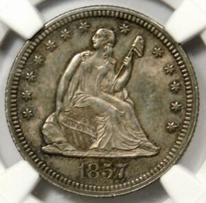 NGC MS63 1857 SEATED QUARTER