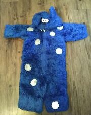 Old Navy Blue Furry Monster HALLOWEEN Costume Toddler 2T Fur Hood Heavy One Pc