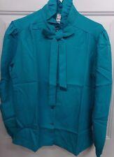 True Vtg Womens Size 12 Aqua Blue Ruffled Neck Shirt Blouse Montgomery Ward Nwt