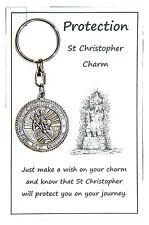 W136 - Wish Charm Keyring - Protection - St Christopher Charm Handmade