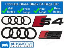 Audi S4 + Rings Gloss Black Grille & Boot Badge Emblem Set - Full Black Out Set