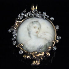 Victorian Rose Cut Diamonds Portrait 14k Gold Pendant Brooch Bigelow Kennard &Co