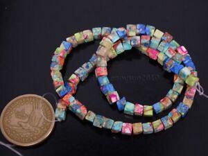 Natural Sea Sediment Jasper Gemstone Square Cube Loose Beads 15.5'' Pick Color