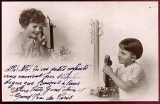 cpa Fantaisie . enfants . téléphone ancien . 1937