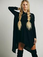 NWT WE THE Free People black mock neck oversized waffle WONDER WOMAN swing top