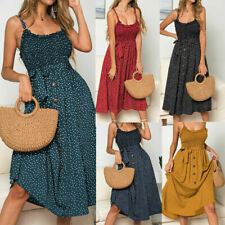 Women Summer Sleeveless Polka Dot Beach Dress Ladies Sundress Stretch I3U6