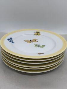 "William Sonoma Summer Studio Bugs & Butterflies 6.5"" desert Plate set of 6"