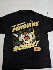 Vintage 90s Looney Tunes Taz Pittsburgh Penguins NHL Hockey Graphic Tee XL USA