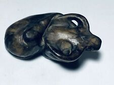 Antique Chinese Brown Jade Carving Of Water Buffalo Ming Dynasty Scroll Weight